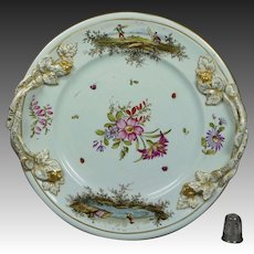 Georgian 18th Century Hochst Plate Flowers Insects Deutsche Blumen German Circa 1750