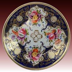 Antique English Plate Cobalt Blue Flowers Regency Era Circa 1820 Spring