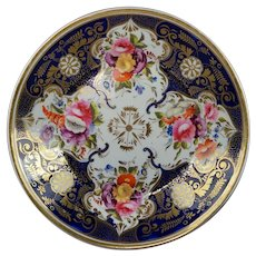 Antique English Porcelain Desert Dish Cobalt Blue Florals Regency Era Circa 1820