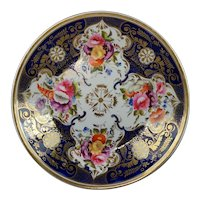 Early 19th Century Plate Cobalt Blue Flowers Regency Era Circa 1820