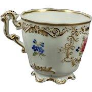Antique Cup English Floral Porcelain Copeland And Garrett Victorian Circa 1840