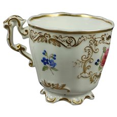 Antique Cup English Floral Porcelain Copeland And Garrett Victorian Circa 1840