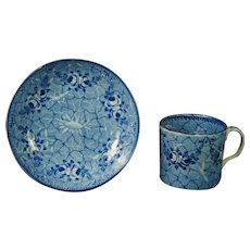 Antique Blue and White Transferware Coffee Can and Saucer Pearlware Circa 1820 Georgian