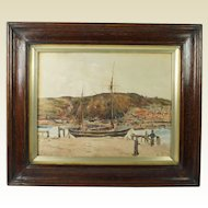 Antique English Watercolor Coastal Landscape Teignmouth, Devon