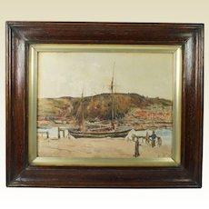Antique English Watercolor Coastal Landscape Teignmouth, Devon