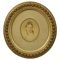 Georgian Portrait Miniature Lady English Circular Gilt Frame Circa 1810 Jane Austen Era