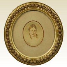 Antique Regency Portrait Miniature Lady English Circular Gilt Frame Circa 1810 Jane Austen Era