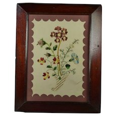 Georgian Floral Embroidery On Paper, Double Sided Needlework Circa 1820