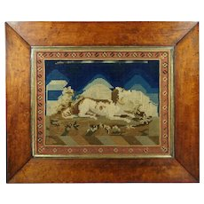 Antique Dog Needlework Tapestry Picture Lovely Maple Frame Circa 1840s