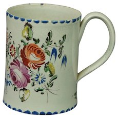 Antique Staffordshire Creamware Coffee Can Cup Mug Tankard Floral Georgian Circa 1790