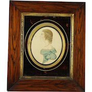 Antique Regency Portrait Miniature On Card Girl in Blue Folk Art Circa 1815