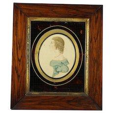 Antique Regency Portrait Miniature On Card Girl in Blue Folk Art Circa 1815