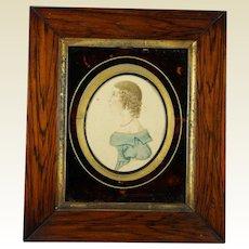 Antique Regency Portrait Miniature Girl in Blue, Stunning Folk Art Frame Circa 1815