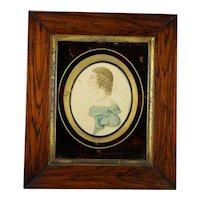 Georgian Portrait Miniature Girl in Blue, Stunning Folk Art Frame Circa 1815