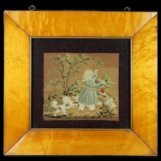 19th Century Needlework Needlepoint Picture Queen Victoria's Dog and Macaw Superb Maple Frame Early Victorian Circa 1840