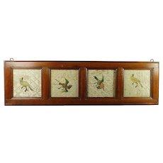 Antique 18th Century Needlework Coverlet Bedcover Fragment Parrot Birds Framed Circa 1720