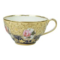 Antique Georgian Coalport Porcelain Cup Porcelain Flowers Circa 1820