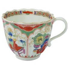 18th Century Worcester Porcelain Cup Dragon in Compartment Pattern A/F Circa 1780