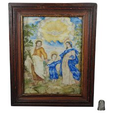 Antique French 18th Century Painting Religious Family Circa 1700
