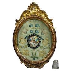 Antique 18th Century Miniature Monastery Work Needlework Embroidery Louis XVI