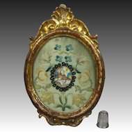 Antique 18th Century Needlework Miniature Monastery Work Embroidery Louis XVI