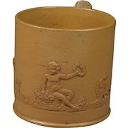 Rare 19th Century Childs Stoneware Cup Dog Putto Lion Sprigged Georgian Circa 1800