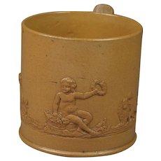 Antique Georgian Miniature Cup Dog Putto Lion Sprigged Stoneware Circa 1800