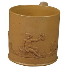 Antique Miniature  Stoneware Cup Dog Putto Lion Sprigged Georgian Circa 1800