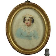 Antique 19th Century Georgian Miniature Watercolor Portrait Lady Oval Gilt Frame English School Circa 1820
