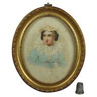 Antique Miniature Pastel Blue Watercolor Portrait Lady Georgian Circa 1820