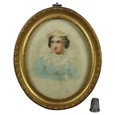 Antique Miniature Pastel Blue Watercolor Portrait Lady Georgian Circa 1820