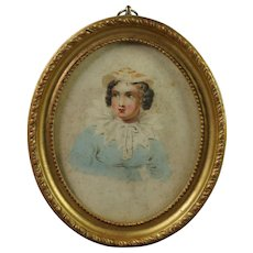 Antique Miniature Watercolor Portrait Lady Georgian Circa 1820