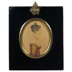 19th Century English Portrait Miniature Watercolor On Card Regency Lady Lydia Nunn Dated 1822 Georgian