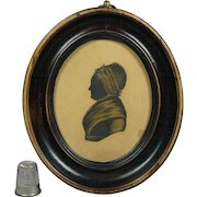 Antique 19th Century Georgian Silhouette Folk Art Oval Frame English Circa 1810