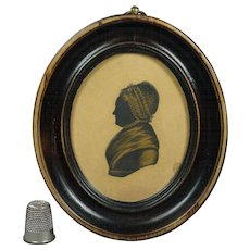 Antique Georgian Silhouette Folk Art Oval Frame English Circa 1810