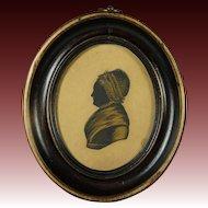 19th Century Georgian Lady Silhouette Oval Frame English Circa 1810