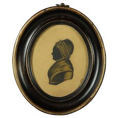 19th Century Georgian Lady Silhouette Oval Frame English Circa 1810