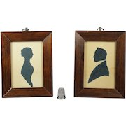 19th Century Cut Silhouette Father and Daughter Pair Named English Sitters Dated 1846 Rutland Bath Yorkshire Connections