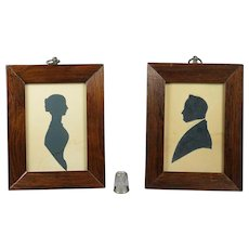 Antique Victorian Silhouette Pair Father and Daughter Dated 1846 Rutland Yorkshire Connections