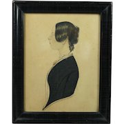 Antique Miniature Folk Art Portrait Watercolor On Card English Circa 1840