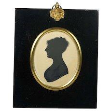 Antique Silhouette Portrait Woman Early Georgian 1815