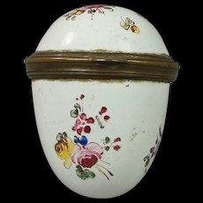 Antique 18th Century Bilston Enamel Egg Etui Bonbonniere Snuff Box Circa 1780 Georgian