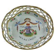 19th century Enamel Gaming Tray Counter Dish Romantic French Friendship Quotation AF