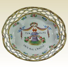 Antique Georgian Enamel Gaming Tray Counter Dish Romantic French Friendship Quotation AF