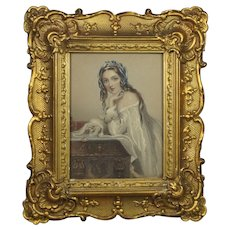 Antique Glorious Gilt Gesso Swept Frame Rococo Style Circa 1840