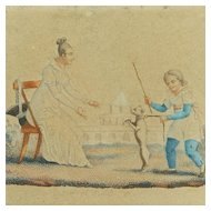 Antique Pair French Miniature Engraving Child And Dog Circa 1820 So Sweet Georgian