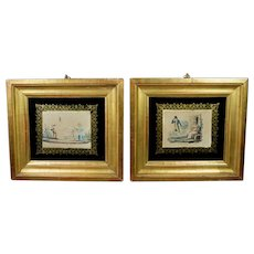 Antique Pair French Miniature Engraving Dog and Children Circa 1820 Regency Era