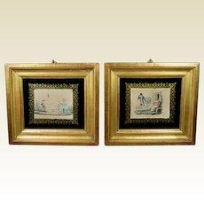 Antique Pair French Miniature Engraving Dog and Children Circa 1820 Regency Era