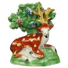 19th Century Miniature Staffordshire Deer Stag Circa 1820 Georgian