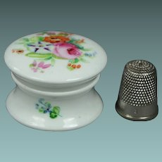 19th Century Miniature Hand Painted English Porcelain Rouge Patch Cosmetic Pot Circa 1830